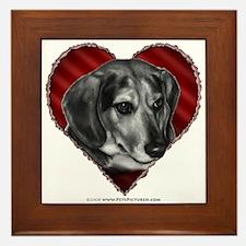 Beagle Mix Valentine Framed Tile