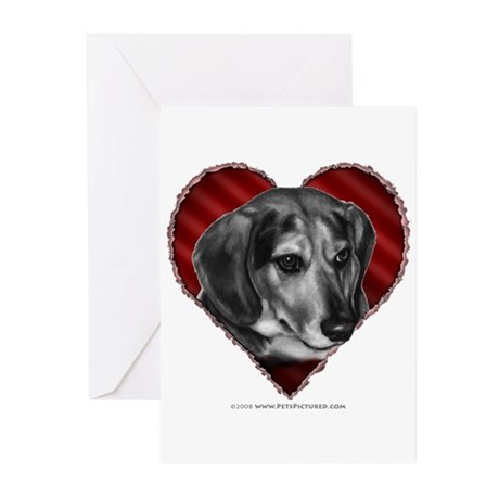 Beagle Mix Valentine Greeting Cards (Pk of 20)