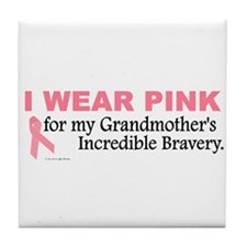 Pink For My Grandmother's Bravery 1 Tile Coaster