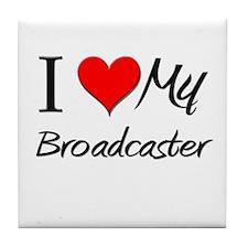 I Heart My Broadcaster Tile Coaster