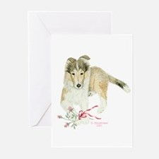 Collie Puppy Greeting Cards (6)