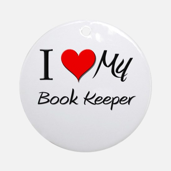 I Heart My Book Keeper Ornament (Round)