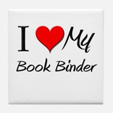 I Heart My Book Binder Tile Coaster