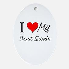 I Heart My Boat Swain Oval Ornament
