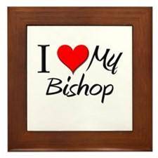 I Heart My Bishop Framed Tile