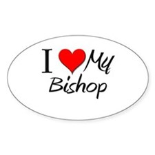 I Heart My Bishop Oval Decal
