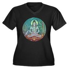 Shiva Women's Plus Size V-Neck Dark T-Shirt