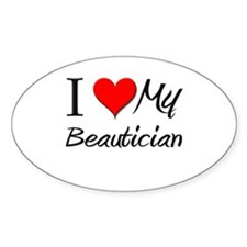 I Heart My Beautician Oval Decal