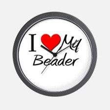 I Heart My Beader Wall Clock
