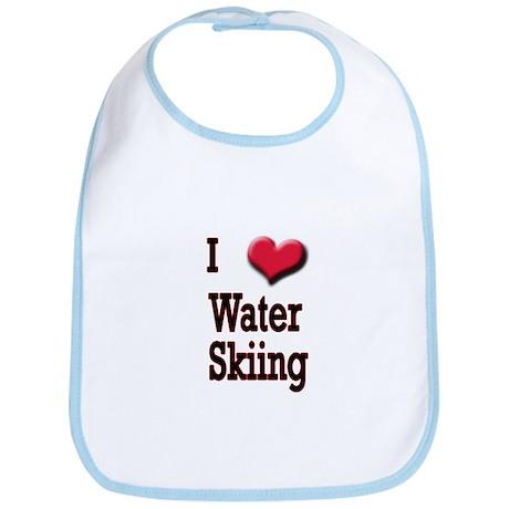 I Love (Heart) Water Skiing Bib