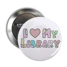 """I (heart) My Library 2.25"""" Button"""
