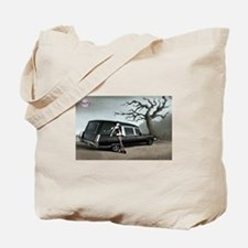 Hearse with Gothic Pin-up Gir Tote Bag