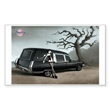 Hearse with Gothic Pin-up Gir Sticker (Rectangular