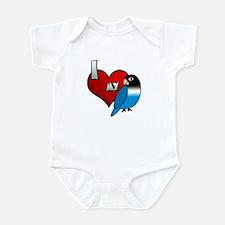 I Love My Blue Black Masked Lovebird Baby Bodysuit