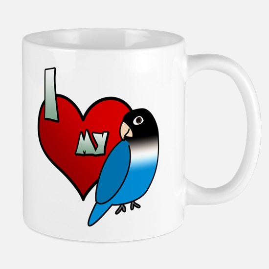 I Love My Blue Black Masked Lovebird Mug