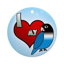 Love Blue Black Masked Lovebird Ornament (Round)