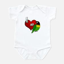 I Love my Black Masked Lovebird Baby Bodysuit
