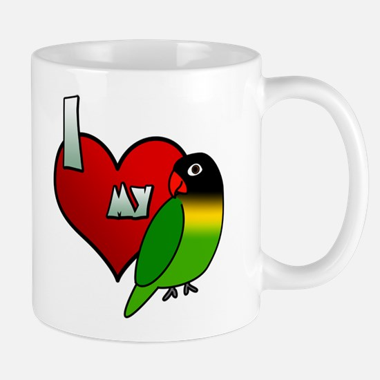 I Love my Black Masked Lovebird Mug
