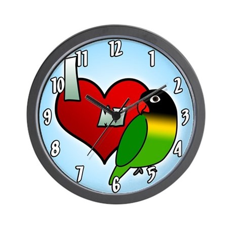 I Love My Black Masked Lovebird Clock