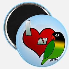 I Love my Black Masked Lovebird Magnet