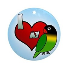 Love Black Masked Lovebird Ornament (Round)