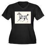 Arab Horse Women's Plus Size V-Neck Dark T-Shirt