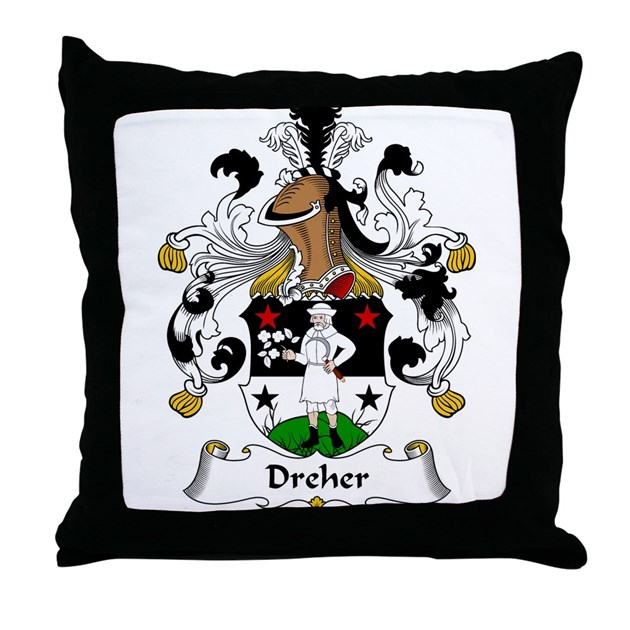 Dreher Family Crest Throw Pillow By Familycoats2