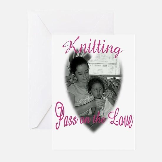 Knitting girlsjpg Greeting Cards