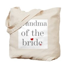 Grey Text Grandma of the Bride Tote Bag