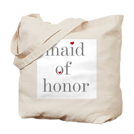 Grey Text Maid of Honor Tote Bag