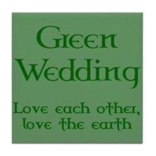 Green Wedding Tile Coaster