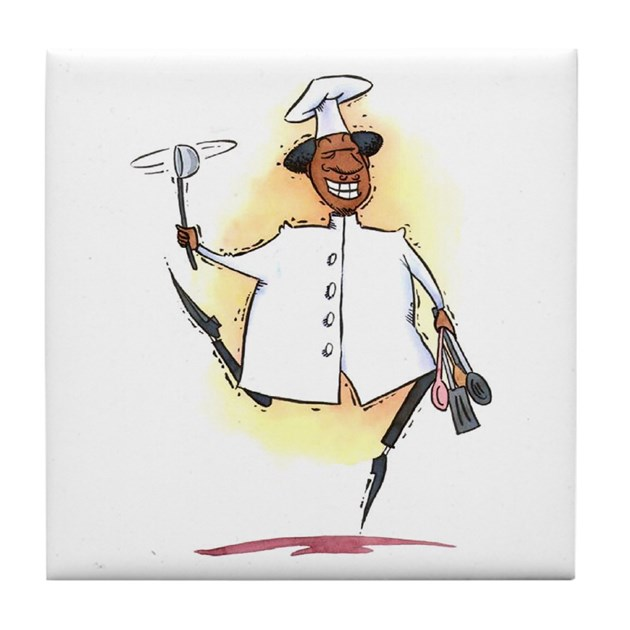 Black African American Chef Art Tile Coaster By Oshishop