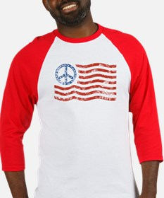 Peace Sign Flag Baseball Tee (more colors)