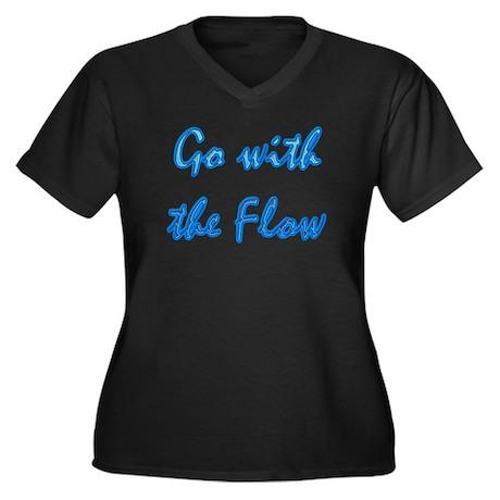 Go With the Flow Women's Plus Size V-Neck Dark T-S