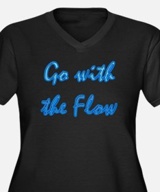 Go With the Flow Women's Plus Size V-Neck Dark T-S