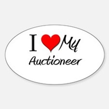 I Heart My Auctioneer Oval Decal