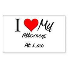 I Heart My Attorneys At Law Rectangle Decal