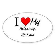 I Heart My Attorneys At Law Oval Decal