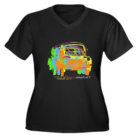 Renault 4CV Women's Plus Size V-Neck Dark T-Shirt