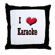 I Love (Heart) Karaoke Throw Pillow