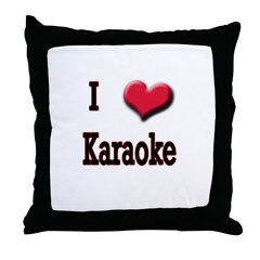 I Love (Heart) Karaoke Throw Pillow