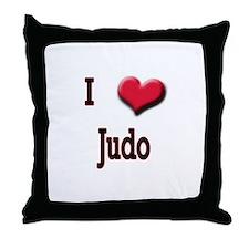 I Love (Heart) Judo Throw Pillow
