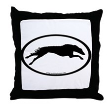 Running Borzoi Oval Throw Pillow