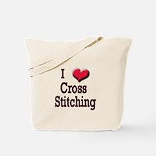 I Love (Heart) Cross Stitchin Tote Bag