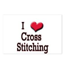 I Love (Heart) Cross Stitchin Postcards (Package o