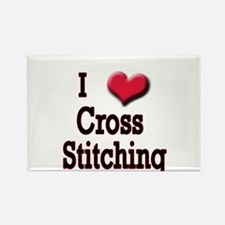 I Love (Heart) Cross Stitchin Rectangle Magnet