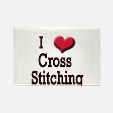 I Love (Heart) Cross Stitchin Rectangle Magnet (10