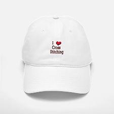 I Love (Heart) Cross Stitchin Baseball Baseball Cap