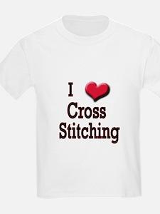 I Love (Heart) Cross Stitchin T-Shirt