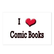 I Love (Heart) Comic Books Postcards (Package of 8